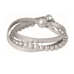 The oh so beautiful, soft leather Sence Copenhagen Barcelona Silver Leather Wrap Bracelet has serious fashion mileage. We especially love the tactile medium sized silver beads and easy to wear magnetic clasp.