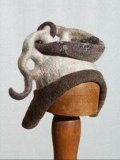 Gallery.ru / Фото #11 - JULIA ROSSI - renew Headdress, Headpiece, Funky Hats, Wool Hats, Losing A Child, Felt Hat, Wet Felting, Textile Art, Wearable Art