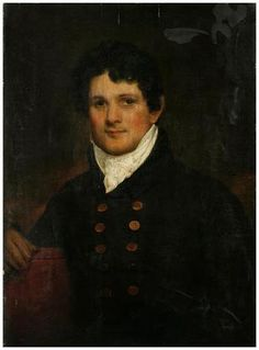 """Samuel Maverick (1789-1845), 1818, John Wesley Jarvis, Oil on wood panel, 30 1/4 x 22 in. Inscription: on back: """"Samuel Maverick / Born in the City of New York / June 5th 1789 / Painted by John W. Jarvis June 5, 1818 / Being 29 years / old"""". The subject was the son of Peter Rushton Maverick (1755-1811), the engraver, and his second wife, Rebecca (Reynolds) Maverick. He followed the family craft, copperplate engraving, and by 1810 had a shop of his own."""