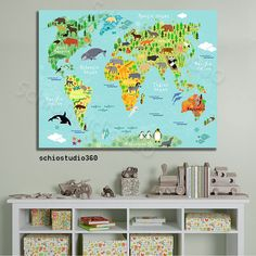 Nursery decor baby shower gifts kids world map poster unique baby animal map of the world adventure world map nursery art children room decor gumiabroncs Image collections