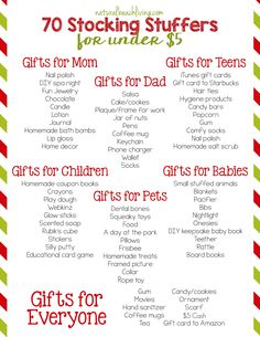 70 Super Stocking Stuffers for Under $5, Budget friendly gift ideas for mom, dad, babies, teens, and anyone else on your list. Awesome Stocking Gift Guide