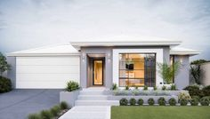 Choose from stunning new home designs that are stylish & functional. View our house plans now. Modern Bungalow House, Bungalow House Plans, Modern House Plans, Modern Front Yard, Front Yard Design, Front House Landscaping, Future House, Small Modern Home, Facade House