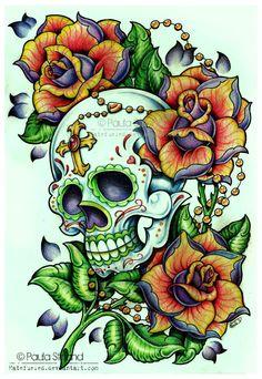Sugar Skull Rosebush by ~nunubeh on deviantART