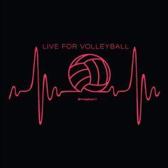 Volleyball Heartbeat Black Volleyball T-Shirt