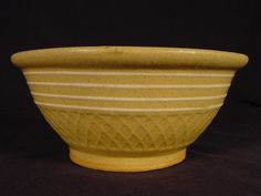 Details about RARE 8 INCH WHITE BAND WAFFLE BOWL YELLOW WARE MINT