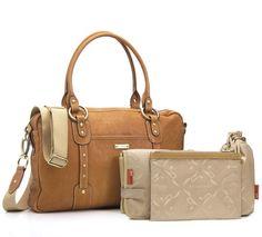 Storksak Elizabeth Leather Baby Nappy Bag - Tan