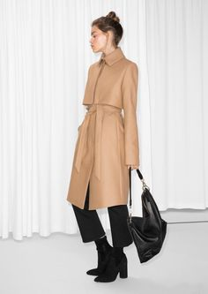 & Other Stories image 2 of Wool Trenchcoat in Beige