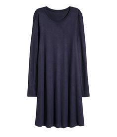 Tricot jurk met lange mouwen | Donkerblauw | Dames | H&M NL