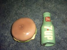 7 up and Hamburger Salt and Pepper Shakers by ENESCO. $25.03