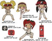 Karate Girls, martial arts, tae kwon, black belts and more colored clip art,  for card making and scrapbooking. $3.99, via Etsy.