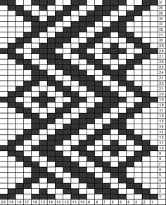 Vertical Zigzag Tricksy Knitter Charts: Vertical ZigZag by Alison; not peyote - loom Tapestry Crochet Patterns, Bead Loom Patterns, Weaving Patterns, Cross Stitch Patterns, Knitting Charts, Knitting Stitches, Knitting Patterns, Crochet Chart, Double Knitting