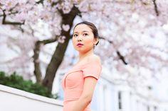 Miss Sakura: Spring Fashion photoshoot in Regent's park, London Cherry Blossom Pictures, Sakura Cherry Blossom, Regents Park London, Professional Portrait, Flower Backgrounds, Lifestyle Photography, Margarita, Spring Fashion, High Neck Dress
