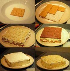 Tarta de platano y galletas muy sencilla