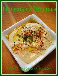 Cooking on a Shoestring: Homemade Hummus - Sisters Shopping on a Shoestring