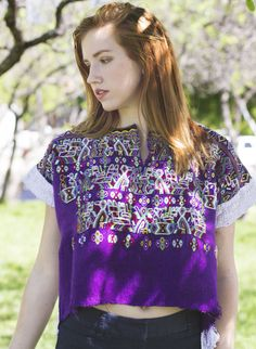 978d3b4451737f Purple Guatemalan Huipil Crop Top