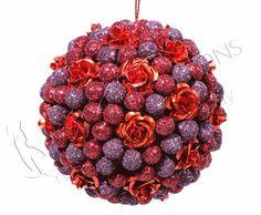 ADDOBBI E PALLINE NATALIZIE, Pallina perlata rossa e viola con rose, NATALE - Christmas Store