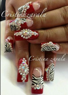 Love these crazy red and zebra nails!