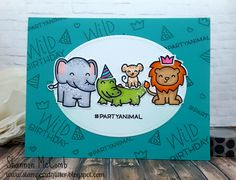 Hello!     I have a fun card to share with you today featuring the Wild for You stamp set featuring Lawn Fawn.         I started with a Pea...