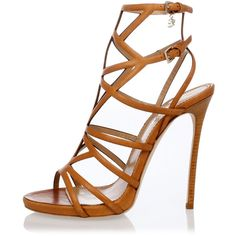 Dsquared2 Leather Sandals ($255) ❤ liked on Polyvore featuring shoes, sandals, heels, high heels, shoes - heels, brown, stiletto sandals, leather heeled sandals, brown leather shoes and high heel stilettos