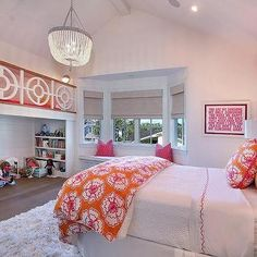 Pink and Orange Kids Bedroom with Play Loft