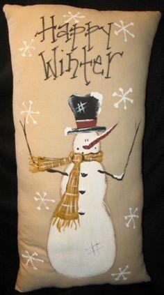Primitive  Snowman Happy Winter Hand painted Pillow