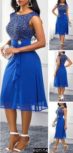 Royal Blue High Waist Rhinestone Embellished Dress - Source by - Stylish Dresses, Sexy Dresses, Cute Dresses, Beautiful Dresses, Dress Outfits, Evening Dresses, Fashion Outfits, Latest African Fashion Dresses, African Dresses For Women