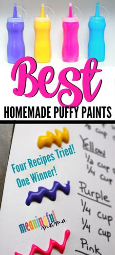 4 puff paint recipes tried. After being unsatisfied with the results, I created my own recipe, which is the best homemade puffy paint recipe I have found. This is a great craft for kids of all ages, including preschoolers, kindergarteners and older kids. Preschool Crafts, Diy Crafts For Kids, Projects For Kids, Fun Crafts, Art Projects, Craft Ideas, Older Kids Crafts, Daycare Crafts, Halloween Crafts For Kids