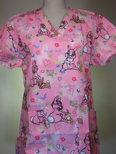 scrub top Thumper Heart Miss Bunny Pink CaringPlus scrubs and un Vet Scrubs, Medical Scrubs, Cute Scrubs Uniform, Disney Scrubs, Scrub Life, Workwear Clothing, Work Wardrobe, Work Attire, Scrubs Uniform