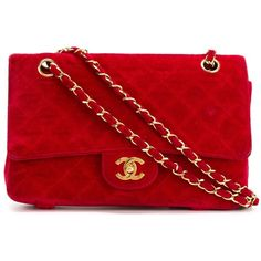 Chanel Vintage 2.55 Shoulder Bag (2.324.595 CRC) ❤ liked on Polyvore featuring bags, handbags, shoulder bags, red, chanel handbags, chain purse, chain shoulder bag, chain handbags and vintage purse