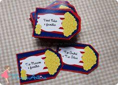 Mais tags pipoca saindo do forno quentinhas =) Elas são sempre sucesso! #mamaearteira #festa #party #tag