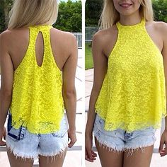 Fashion Halter-style Hollow Out Lace Tops Outfits For Teens, Cute Outfits, Lace Halter Top, Lace Vest, Yellow Lace, Yellow Roses, Summer Shirts, Lace Tops, Floral Tops