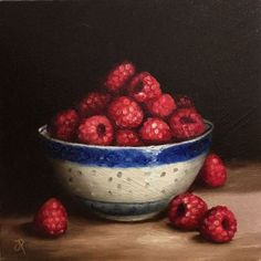 ARTFINDER: Bowl of Raspberries by Jane Palmer - This is an Original oil painting, painted alla prima from life .  Canvas board size -  approx 8 x 8 inch   Painted on 3mm thick canvas board.  This pai...