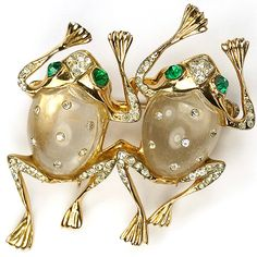 A Coro Sterling Spangled Jelly Belly Frogs Duet Brooch.