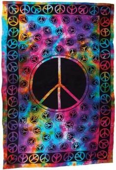 Peace Sign Tie Dye Tapestry Altar Cloth Wall Cloth Hippie Flower Power Decor exciting-new-items Hippie Peace, Hippie Love, Hippie Art, Hippie Style, Boho Style, Tie Dye Tapestry, Wall Tapestry, Peace Love Happiness, Peace And Love