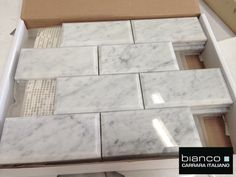 """Italian Marble Carrara Bianco Polished 3x6"""" Beveled Marble Tile for $8.95 a Square Foot attached to a mesh mosaic for ease of installation, (prices valid thru 2015)."""
