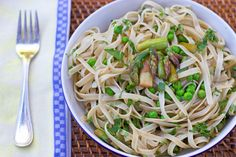 Fettuccine with Grilled Asparagus, Peas, and Lemon - Forks Over Knives