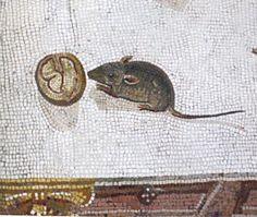 mouse detail, unswept floor mosaic. vatican.