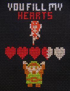 zelda, you fill my hearts cross stitch.