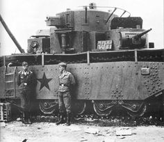 "greasegunburgers: "" German soldiers pose with a captured Soviet T-35 ""land battleship"" """