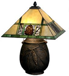 Stained Glass Lodge Pinecone Table Lamp