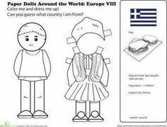 First Grade Social Studies Worksheets: Paper Dolls Around the World: Europe VIII Multicultural Activities, Activities For Kids, Spring Activities, Free Printable Worksheets, Worksheets For Kids, Free Printables, Kids Around The World, Around The Worlds, Coloring For Kids