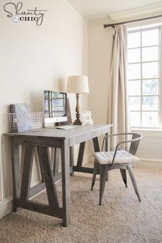 Build a Desk with These Free Plans: Free Truss Desk Plan from Shanty 2 Chic