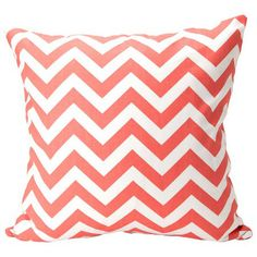 Coral chevron pillow - easy to DIY...girl's nursery