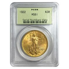 1922 $20 Gold St. Gaudens Double Eagle Coin PCGS MS 61