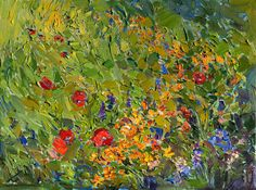 Wildflowers Contemporary Impressionism Landscape Oil Painting Framed by Erin Hanson