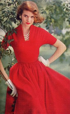 red dress 1955 Vogue - hey Nancy Drew fans: doesn't this remind you of the Secret in the Old Attic cover?
