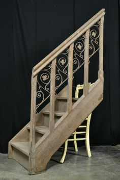 Beautiful Oak Staircase with Cast Iron Gothic Decorations @ HetVerbodenBeeld
