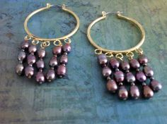 Fabulous Drippy Purple Freshwater Pearl Hoop by BjeweledVintage, $24.00