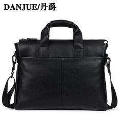 fcc00ff0f32 DANJUE Genuine leather men briefcare brand high quality men s business  handbags two color real leather soft men laptop bag