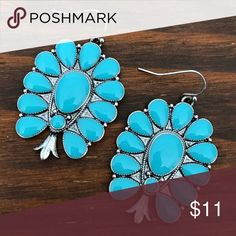 Turquoise Squash Blossom Earrings Brand new turquoise squash blossom earrings. Tags: country girl cowgirl jewelry boots western jewelry earrings Boho gypsy tribal Aztec Navajo southern southwest western rodeo cowgirl style miss me dojo Jewelry Earrings